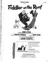 Fiddler On The Roof Whole Book Free Downloadable Sheet